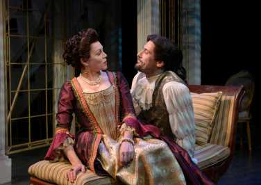 """""""Les Liaisons Dangereuses"""" by Christopher Hampton, based on the novel by Choderlos de Laclos, at Palm Beach Dramaworks in West Palm Beach, Fla., through Mar. 1. Pictured: Kate Hampton and Jim Ballard. (Photo by Alicia Donelan)"""