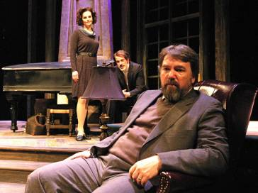 """""""The Archbishop's Ceiling"""" by Arthur Miller, at Arvada Center for the Arts and Humanities in Arvada, Colo., in 2015. Pictured: Heather Lacy, William Hahn and Michael Morgan. (Photo by P. Switzer Photography)"""