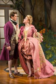 """""""The Metromaniacs"""" by David Ives, at Shakespeare Theatre Company in Washington, D.C. through Mar. 8. Pictured: Anthony Roach and Amelia Pedlow. (Photo by Scott Suchman)"""