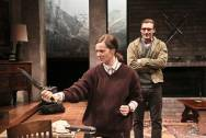 """Switzerland"" by Joanna Murray-Smith, at the Geffen Playhouse in Los Angeles through Apr. 12. Pictured: Laura Linney and Seth Numrich. (Photo by Michael Lamont)"