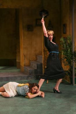 """Tartuffe"" at Seattle Shakespeare Company, through April 12. Pictured: Maya Sugarman and Bhama Roget. (Photo by John Ulman)"