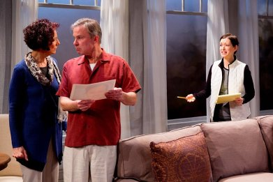 """""""A Body of Water"""" by Lee Blessing, at Geva Theatre Center in Rochester, N.Y., through Apr. 5. Pictured: Carmen Roman, James Leaming and Lesley Gurule. (Photo by Dave Burbank)"""