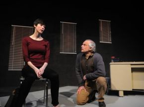 """""""Oleanna"""" by David Mamet at Stage Door Theatre Company in Sturgeon Bay, Wisc. through March 29. Pictured: Madeline Bunke and Alan Kopischke. (Photo by Tina M. Gohr)"""