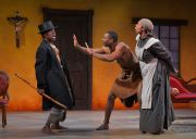 """""""The Convert"""" by Danai Gurira, at Marin Theatre Company in Mill Valley, Calif., through Mar. 15. Pictured: L. Peter Callender, JaBen Early and Elizabeth Carter. (Photo by Kevin Berne)"""