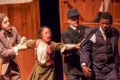 """""""The Trial of Moses 'Fleetwood' Walker"""" by Ervin Gardner, at Black Ensemble Theatre in Chicago through Mar. 15. Pictured: Casey Hayes, Leslie Collins, Colin Reeves and Andre Teamer. (Photo by Teddy Nicholas)"""