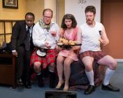"""""""Unnecessary Farce"""" by Paul Slade Smith, at Act II Playhouse in Ambler, Penn., through Mar. 22. Pictured: Akeem Davis, Anthony Lawton, Gerri Smith Weagraff and Jake Blouch. (Photo by Mark Garvin)"""