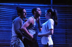 """""""Lights Rise on Grace"""" by Chad Beckim, at Woolly Mammoth Theatre Company in Washington, D.C., through Apr. 26. Pictured: Ryan Barry, DeLance Minefee, Jeena Yi. (Photo by Stan Barouh)"""