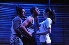 """Lights Rise on Grace"" by Chad Beckim, at Woolly Mammoth Theatre Company in Washington, D.C., through Apr. 26. Pictured: Ryan Barry, DeLance Minefee, Jeena Yi. (Photo by Stan Barouh)"