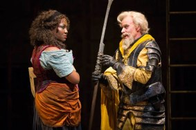 """""""Man of La Mancha"""" by Dale Wasserman, Joe Darion and Mitch Leigh, at Shakespeare Theatre Company in Washington, D.C., through Apr. 26. Pictured: Amber Iman and Anthony Warlow. (Photo by Scott Suchman)"""