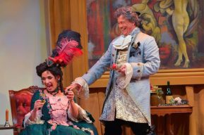 """""""Mirandolina! Mistress of a Tuscan Inn"""" by Carlo Goldoni, adapted by Timothy Near, at Center REP Theatre in Walnut Creek, Calif., through May 3. Pictured: Lynda DiVito and Michael Butler. (Photo by Kevin Berne)"""