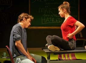 """""""Martyr"""" by Marius von Mayenburg, translated by Maja Zade, at Steep Theatre Company in Chicago through May 23. Pictured: Brando Crawford and Claire Saxe."""