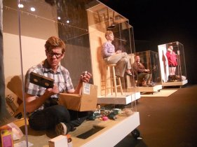"""""""Middle-Aged People Sitting in Boxes"""" by and at Buntport Theatre in Denver through May 2. Pictured: Erik Edborg, Erin Rollman, Hannah Duggan and Brian Colonna."""