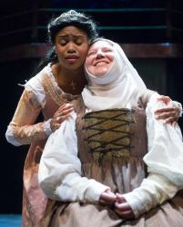 """Romeo and Juliet"" by William Shakespeare, at Chesapeake Shakespeare Company in Baltimore through May 10. Pictured: Lauren Davis and Mimsi Janis."