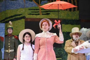 """Sunday in the Park with George"" by Stephen Sondheim and James Lapine, at Burning Coal Theatre in Raleigh, N.C., through May 3. Pictured: Ian Finley, Bailey Jenkins, Diana Cameron McQueen and Fred Corlett. (Photo by Right Image Photography, Inc.)"