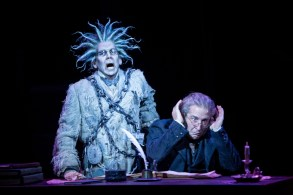 """""""A Christmas Carol"""" adapted by Crispin Whittell from Dickens, at the Guthrie Theater in Minneapolis through Dec. 27. Pictured: Robert O. Berdahl and J.C. Cutler. (Photo by Dan Norman)"""