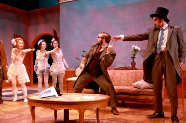 """A Flea In Her Ear"" by Georges Feydeau, at Syracuse University Drama Department, in Syracuse, N.Y., through May 14. Pictured: Claire Sorlie, Morgan Price, Mara Reiten, Tyler Lyons and Alex Griffin. (Photo by Mike Davis)"