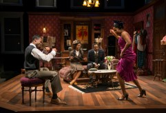 """Blues for an Alabama Sky"" by Pearl Cleage, at Court Theatre in Chicago through Feb. 12. Pictured: Sean Parris, Celeste M. Cooper, James Vincent Meredith, and Toya Turner. (Photo by Michael Brosilow)"