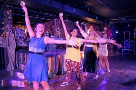 """""""Alice: A New Musical,"""" by Lesley Anderson and Andrew Barbato, a coproduction of Firehouse Theatre and TheatreLAB at TheatreLAB's The Basement in Richmond, Va., through Aug. 26. Pictured: Rachel Marrs, Mallory Keene, Caitlin Sneed, and Anne Michelle Forbes. (Photo by Tom Topinka)"""