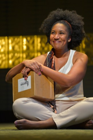 """""""Aubergine"""" by Julia Cho, at Berkeley Rep in Berkeley, Calif., through March 27. Pictured: Safiya Fredericks. (Photo by Kevin Berne)"""