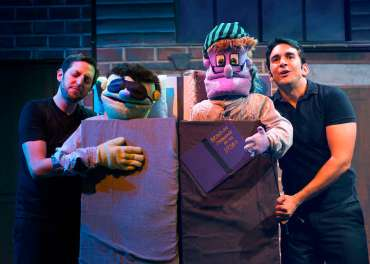 """""""Avenue Q"""" by Robert Lopez, Jeff Marx, and Jeff Whitty, at the New Conservatory Theatre Center in San Francisco in 2015. Pictured: Chris Morrell and William Giammona. (Photo by Lois Tema)"""