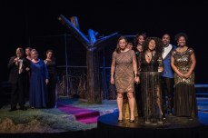 """Barbecue"" by Robert O'Hara, at Cleveland Public Theatre through March 11. Pictured: Ray McNiece, Maryann Elder, Teresa DeBerry, Sally Groth, Jill Levin, Pamela Morton, Ashley Aquilla, Katrice Monee Headd, Scott A. Campbell, and Tonya Broach. (Photo by Steve Wagner)"