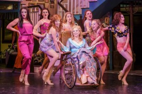 """The Best Little Whorehouse in Texas,"" by Larry L. King and Peter Masterson, at Finger Lakes Musical Theatre Festival in Auburn, N.Y. through Aug. 23. Pictured: Sally Wilfert and cast. (Photo by Ron Heerkens Jr Photography)"