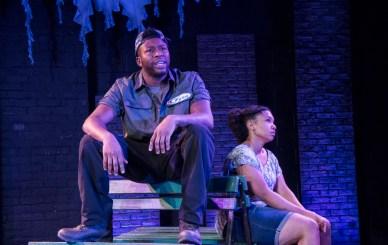 """Blacktop Sky"" by Christina Anderson, at Know Theatre in Cincinnati, Ohio, through Feb. 20. Pictured: Landon Horton and Aziza Macklin. (Photo by Daniel R. Winters)"