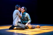 """Constellations"" by Nick Payne, at Seattle Repertory Theatre in Seattle, through Feb. 27. Pictured: Alexandra Tavares and Max Gordon Moore. (Photo by Alan Alabastro)"