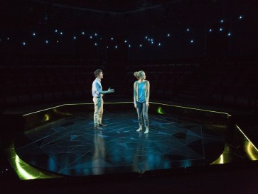"""""""Constellations"""" by Nick Payne, at the Old Globe in San Diego, Calif., through May 1. Pictured: Christian Coulson and Victoria Frings. (Photo by Jim Cox)"""