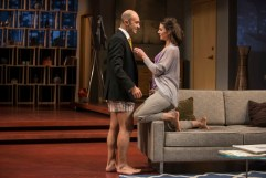 """Disgraced"" by Ayad Akhtar, at Milwaukee Repertory Theatre through Feb. 12. Pictured: Maboud Ebrahimzadeh and Janie Brookshire. (Photo by Michael Brosilow)"