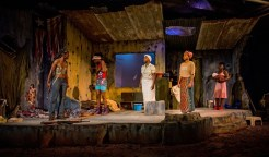 """""""Eclipsed"""" by Danai Gurira, at Synchronicity Theatre in Atlanta through June 25. Pictured: Isake Akanke, Asha Duniani, Parris Sarter, Shayla Love, and Charity Jordan. (Photo by Jerry Siegel Photography)"""