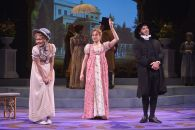 """Emma"" adapted by Paul Gordon from Jane Austen, at TheatreWorks in Palo Alto, Calif. through Jan 2. Pictured: Leigh Ann Larkin, Lianne Marie Dobbs, and Brian Herndon. (Photo by Kevin Berne)"