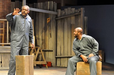 """Fences"" by August Wilson, at International City Theatre in Long Beach, Calif., through Sept. 13. Pictured: Michael A. Shepperd and Christopher Carrington. (Photo by Suzanne Mapes)"