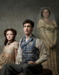 """""""Great Expectations"""" adapted by Lucinda Stroud from Charles Dickens, at Portland Center Stage in Portland, Ore., through Jan. 21. Pictured: Stephen Stocking, Maya Sugarman, and Dana Green. (Photo by Kate Szrom)"""