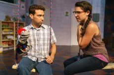 """""""Hand to God"""" by Robert Askins, at Kitchen Theatre Company in Ithaca, N.Y., through Sept. 25. Pictured: Karl Gregory and Montana Lampert Hoover. (Photo by Dave Burbank)"""