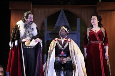 """""""Henry VI: The Wars of the Roses, Part 1"""" by Shakespeare, at Cincinnati Shakespeare Company , in Cincinnati, Ohio, through Feb. 13. Pictured: Paul Riopelle, Darnell Pierre Benjamin, and Kelly Mengelkoch. (Photo by Mikki Schaffner Photography)"""