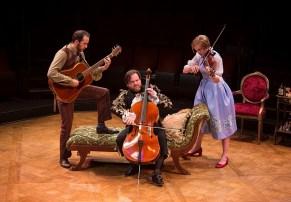 """""""Imaginary Invalid,"""" adapted by Fiasco Theater from Molière, at the Old Globe in San Diego, Calif., through June 25. Pictured: Kevin Hafso-Koppman, Paul L. Coffey, and Jane Pfitsch. (Photo by Jim Cox)"""