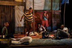 """""""The Last Tiger in Haiti"""" by Jeff Augustin, at La Jolla Playhouse in La Jolla, Calif., through July 24. Pictured: Clinton Roane, Reggie D. White, Brittany Bellizeare, Jasmine St. Clair, and Andy Lucien. (Photo by Jim Carmody)"""