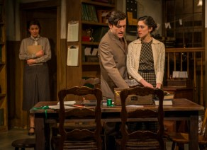 """""""London Wall"""" by John Van Druten, at Griffin Theatre Company in Chicago, through Feb. 14. Pictured: Vanessa Greenway, George Booker, and Rochelle Therrien. (Photo by Michael Brosilow)"""