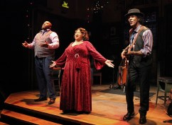 """""""Low Down Dirty Blues"""" by Randal Myer and Dan Wheetman, at Cincinnati Playhouse in the Park in Cincinnati, Ohio through Dec. 20. Pictured: Caron """"Sugaray"""" Rayford, Felicia P Fields, and Chic Man Street. (Photo by Mikki Schaffner)"""