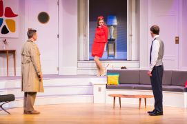 """""""Boeing Boeing"""" by Marc Camoletti, at Milwaukee Chamber Theatre in Milwaukee, Wis., through Aug. 30. Pictured: Ryan Schabach, Anne Walaszek, and Brian J. Gill. (Photo by Paul Ruffolo)"""