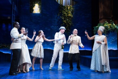 """""""A Midsummer Night's Dream"""" by Shakespeare, at the Folger Theatre in Washington, D.C., through March 6. Pictured: Desmond Bing, Kim Wong, Betsy Mugavero, Adam Wesley Brown, Eric Hissom, and Caroline Stefanie Clay. (Photo by Teresa Wood)"""