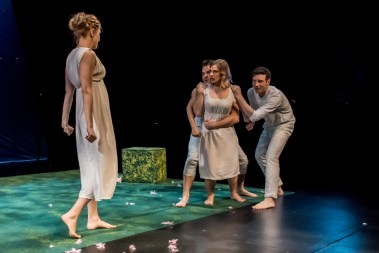 """""""A Midsummer Night's Dream"""" by Shakespeare, a coproduction with Peregrine Theatre Ensemble at Wellfleet Harbor Actors Theater, in Wellfleet, Mass., through April 3. Pictured: Amanda Cate Fuller, Nathan Winkelstein, Claire Tyers, and Ben Berry. (Photo by Michael & Suz Karchmer)"""