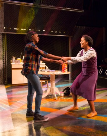 """Milk Like Sugar"" by Kirsten Greenidge, at Huntington Theatre Company in Boston IN 2016. Pictured: Jasmine Carmichael and Shanae Burch. (Photo by T. Charles Erickson)"