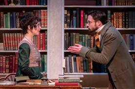 """Miss Bennet: Christmas at Pemberley,"" by Lauren Gunderson and Margot Melcon, at Theatrical Outfit in 2018. Pictured: Amelia Fischer and Jonathan Horne."