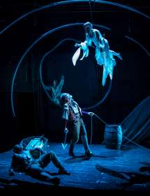 """""""Moby Dick"""" by David Catlin, at Lookingglass Theatre in Chicago through Sept. 3. Pictured: Anthony Fleming III, Nathan Hosner, Micah Figueroa, and Mattie Hawkinson. (Photo by Liz Lauren)"""