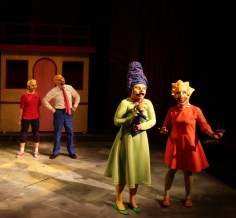 """""""Mr. Burns , a post-electric play"""" by Anne Washburn, at Lyric Stage Company in Boston, through May 7. Pictured: Aimee Doherty, Joseph Marrella, Gillian Mackay-Smith, and Linsey McWhorter. (Photo by Mark S. Howard)"""