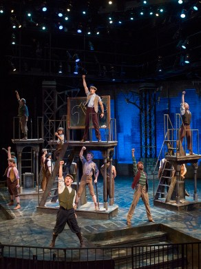 """Newsies,"" by Alan Menken, Jack Feldman, and Harvey Fierstein, presented by Pacific Conservatory Theatre at the Solvang Festival Theater in Solvang, Calif., through Aug. 30. (Photo by Michael Collins Photography)"