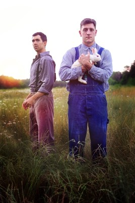 """""""Of Mice and Men"""" by John Steinbeck, at Serenbe Playhouse in Chattahoochee Hills, Ga., through June 26. Pictured: Daniel Parvis and Blake Burgess. (Photo by BreeAnne Clowdus)"""