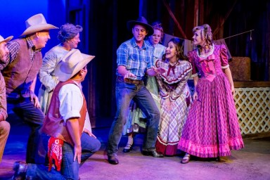 """Oklahoma!,"" by Richard Rodgers and Oscar Hammerstein, at New Village Arts in Carlsbad, Calif., through Sept. 25. (Photo by Daren Scott)"